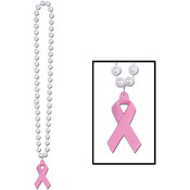 Beads w/Pink Ribbon Medallion