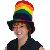 Plush Rainbow Stovepipe Hat