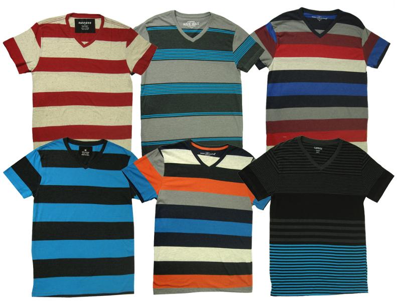 Men's Assorted Striped Vneck T-Shirts [1474713]