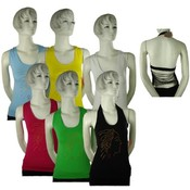Juniors Seamless Halter Cut Top - String Backed Wholesale Bulk