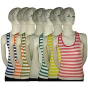 Women's Striped Stretch Tank Tops Wholesale Bulk