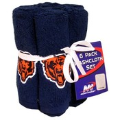 Chicago Bears 6 Pack Washcloth Set