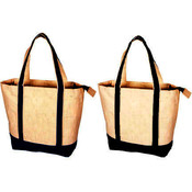 Reusable Cotton Tote Bag w/Zipper- Natural/Black Trim