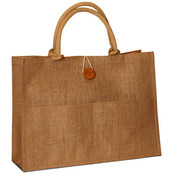 Jute Shopping Bag with Front Pocket