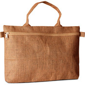 Eco Friendly Jute Document Bag w/Zippered Closure