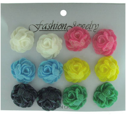 3-D Acrylic Rose STUD EARRINGS - 6 Pairs [2124101]