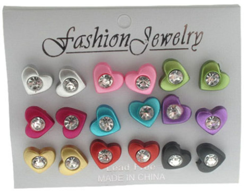 Heart with Rhinestone STUD EARRINGS - 9 Pairs [2124167]