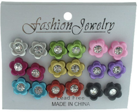 Flower with Rhinestone STUD EARRINGS - 9 Pairs [2124143]