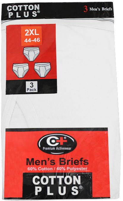 Cotton Plus 3-Pack Men's Briefs - White - 2XL [1989999]