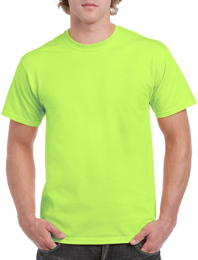 Wholesale irregular gildan t shirts style 8000 neon green for Bulk neon t shirts