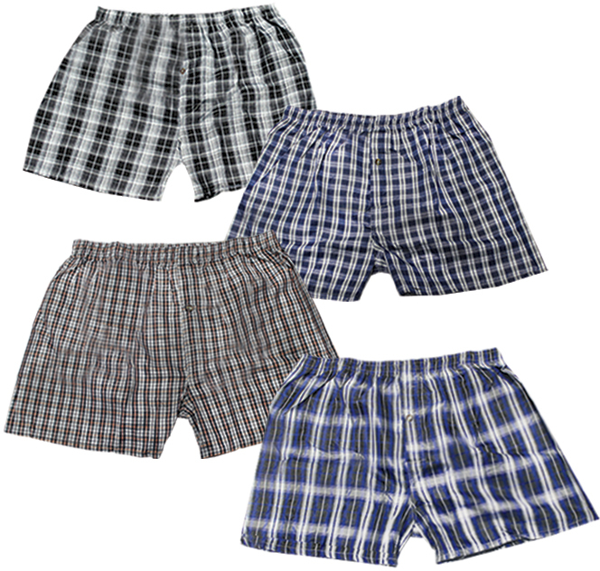 Men's Plaid Boxer Shorts - Size Large (915066)