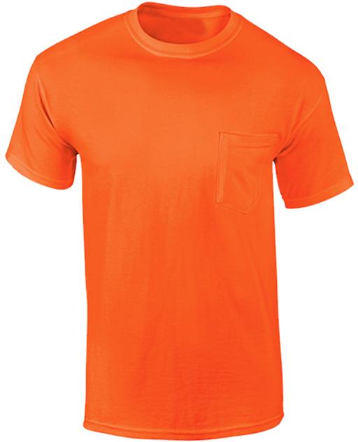 Wholesale anvil heavyweight pocket t shirt safety orange for Bulk pocket t shirts