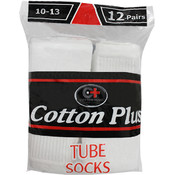 Cotton Plus Men's White Tube Socks 10-13