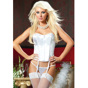 Perfectly Zipper-Front Satin Corset White-M