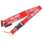 Georgia Bulldogs Clip Lanyard Keychain Id Holder