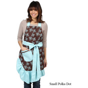 Flower & Polka Dot Reversible Apron w/Pocket