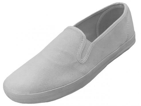 Men's White Color Slip On Canvas SHOES Size 7-13 [1934241]