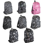 "Assorted 17"" metallic print backpacks ."