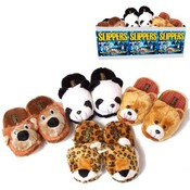 Fleece Slippers Asst With Animal Heads