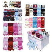 Scarf, Glove, Hat Sets Kids 72 Pc Bin 6 Asst Sytles And Colors