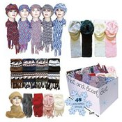 Scarf& Hat Sets For Adults 48 Pc Bin 4 Asst Styles And Colors
