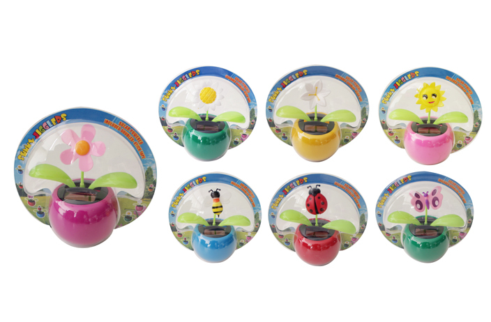 Solid Color SOLAR Jigglers with Flowers & Insects (1981340)