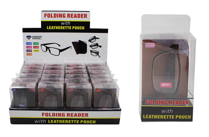 Folding READING GLASSES with Leatherette Pouch [1982892]