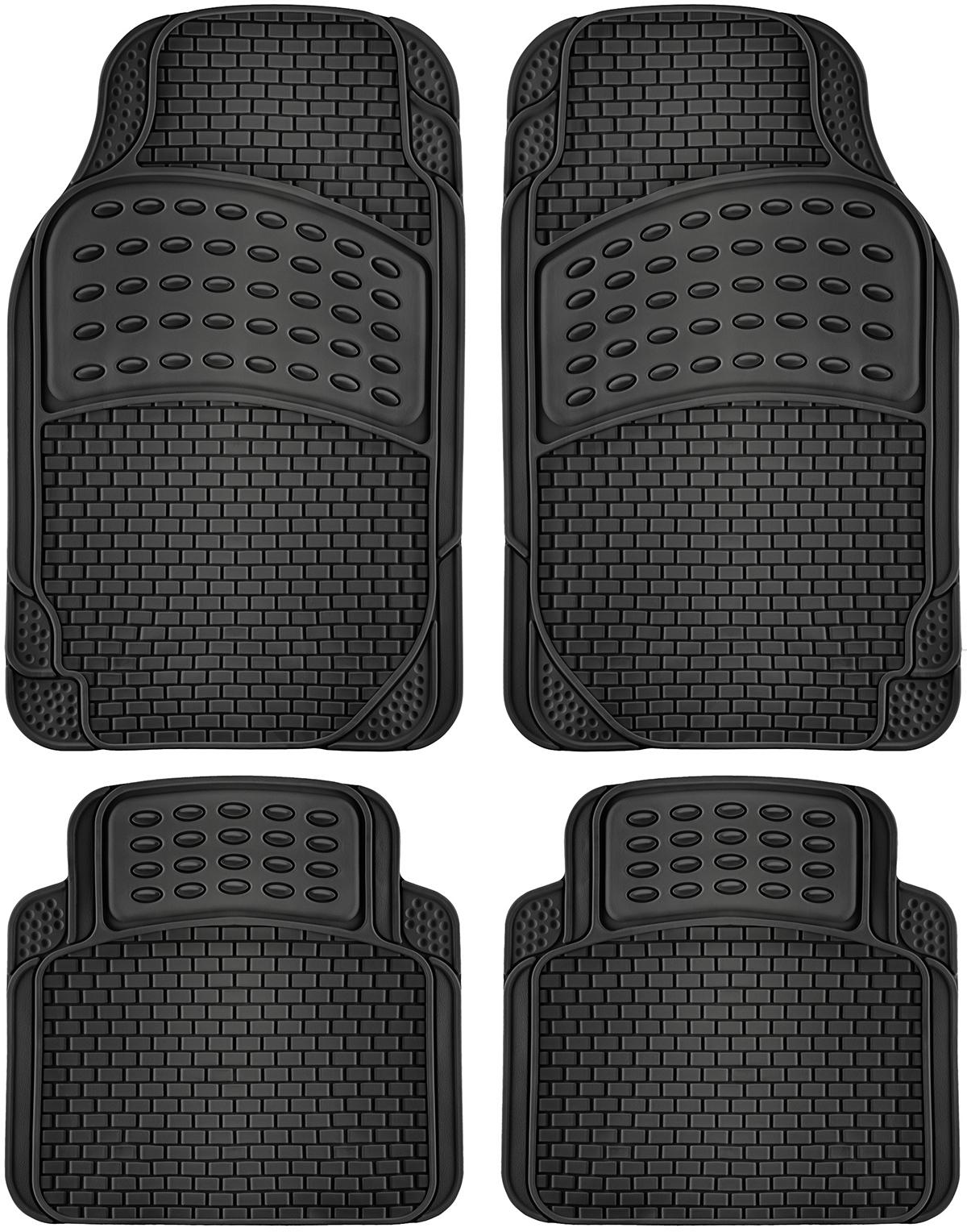 ''4pc ''''Ridged'''' Style Auto FLOOR MATs Black [1994645]''