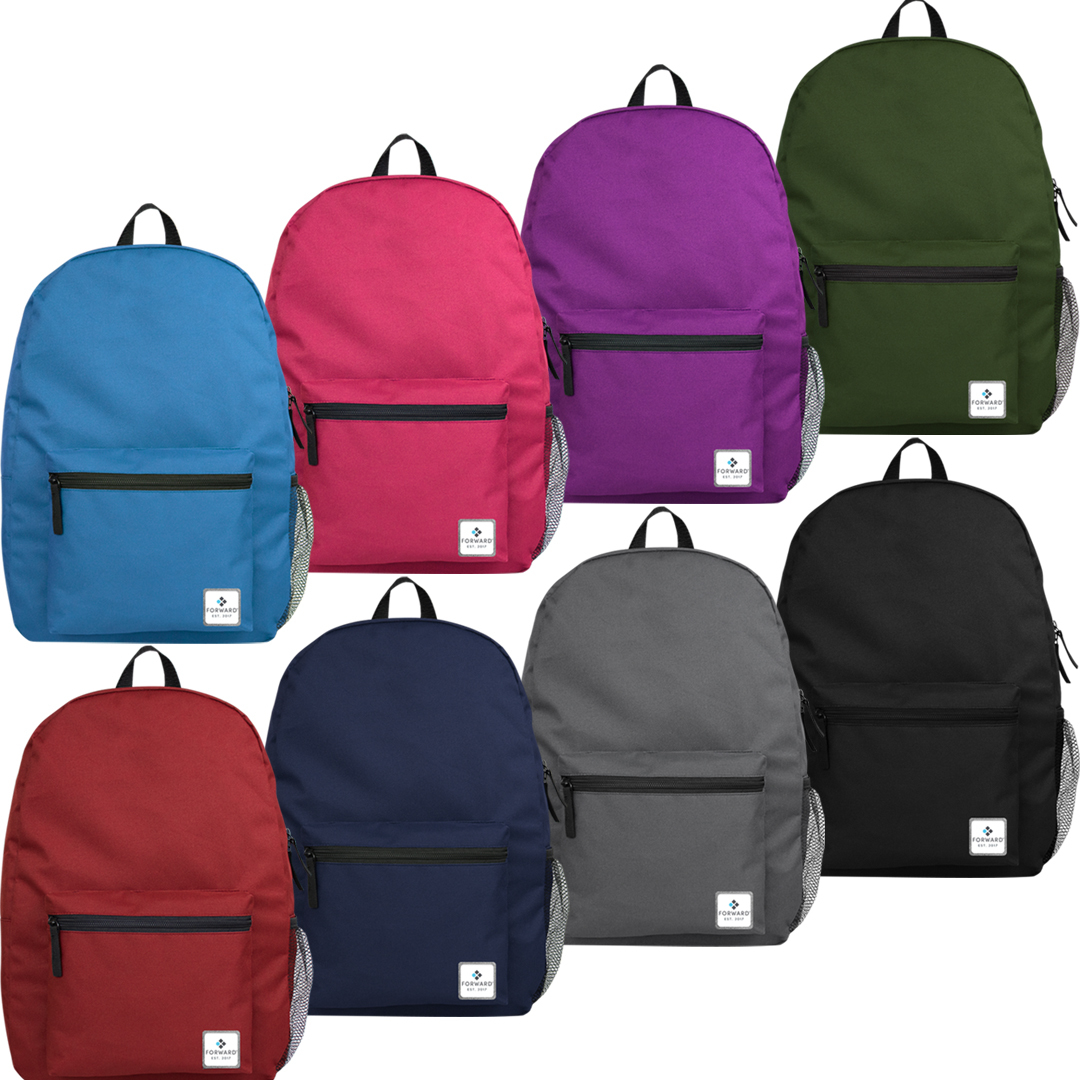 4 Colors 15 School Backpack with Side Mesh Pocket