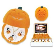 Lead Safe - Pumpkin Box - Necklace & Earring Set Wholesale Bulk