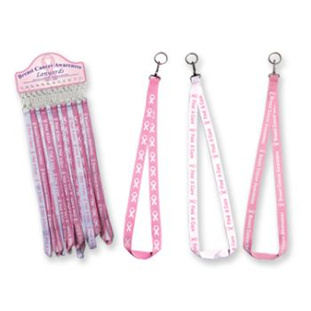 Bulk Pack Breast Cancer Awareness Lanyard keychains
