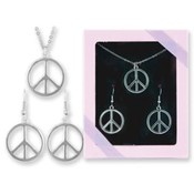 Pretty N' Peace Peace Sign Necklace/Earring Set