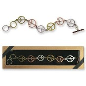 Peace Sign Bracelet Tri-Tone Antique Finish