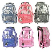 18&quot; Clear Backpack On Wheels
