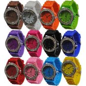 Silicone Rhinestone Face Watches