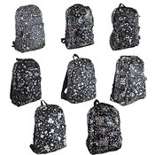 "Assorted 17"" Metallic Print Backpacks"