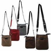 Womans Cross Body Houndstooth Print Bag