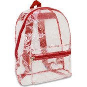 Clear Plastic Backpack - Red