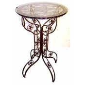 Metal Star Bistro Table with Glass Top