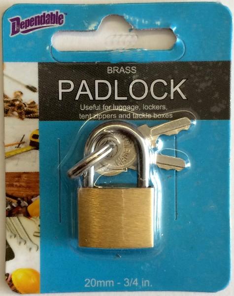 ''Brass Padlock LUGGAGE Lock 20mm 3/4'''' (1819368)''