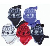 Womens Ear Cover Knit Hat 5 Colors Skier Print