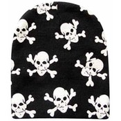 Skull Printed Black Short Beanie Wholesale Bulk
