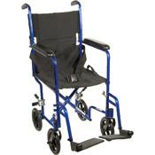 Lightweight Blue Transport Wheelchair Wholesale Bulk
