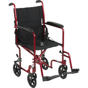 Lightweight Red Transport Wheelchair Wholesale Bulk