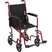 Lightweight Red Transport Wheelchair Wholesale Bulk