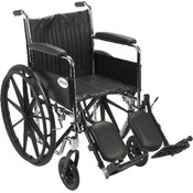 Chrome Sport Wheelchair with Full Arms and Elevating Leg Rest Wholesale Bulk