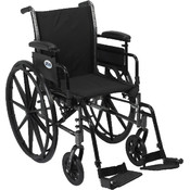 Wheelchair with Flip Back Removable Adjustable Desk Arms and Swing Away Footrest Wholesale Bulk