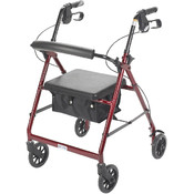 Red Rollator Walker with Fold Up and Removable Back Support and Padded Seat Wholesale Bulk
