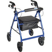 Blue Rollator Walker with Fold Up Removable Back Support Padded Seat and 8' Wheels Wholesale Bulk