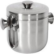 Brushed Stainless-Steel Ice Bucket and Tongs Set